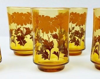 Vintage Sunflower Juice Glasses Set of 6 - 5 oz Kitchen Harvest Gold Yellow