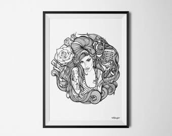 Deco illustration Amy Winehouse A4 poster