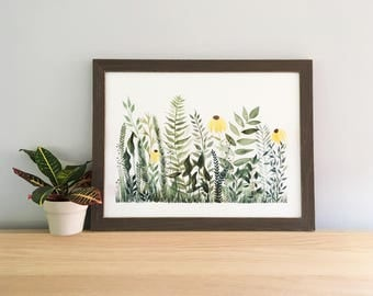 Fern Forest 1 - Original Watercolor Painting - Framed