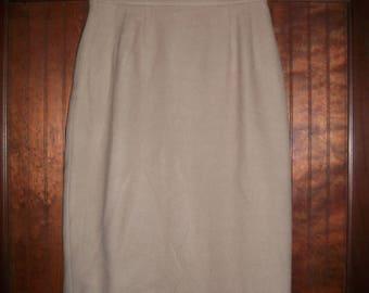 Vintage Anne Klein II Tan Wool Skirt Size 8