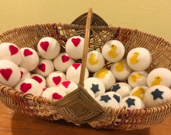 Felted dryer balls with embellishments