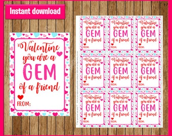 Gem Valentine's Tags, Printable Valentine's Day Cards, You Are A Gem, Gem Of A Friend, Great for Ring Candy, Digital, Instant Download