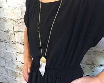 Fringe bar/ chandelier necklace