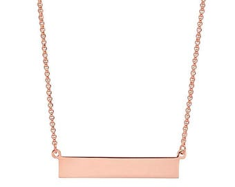 Rose Gold-Plated Sterling Silver Necklace with Engraveable Bar Pendant
