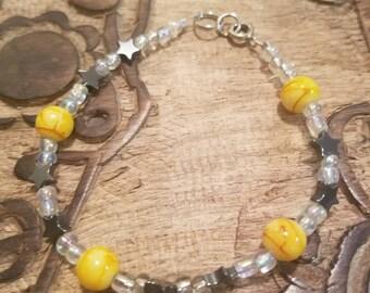 Hematite Stars and Yellow Accent Beads