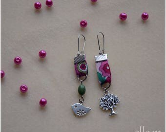 Earrings in pink and green tones fabric, bird, tree, stainless steel findings
