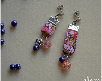 Earrings pink liberty with flower bead