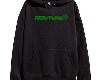 Eminem Revival Green Logo Hoodie Classic Hip Hop Rap Vintage Style Sweatshirt Revival Slim Shady Records Aftermath Entertainment Detroit