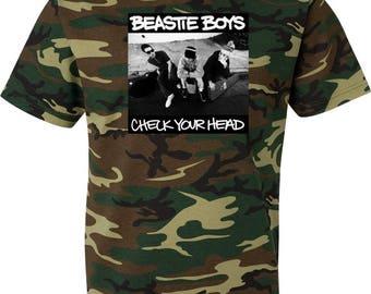 Beastie Boys Check Your Head Camouflage T Shirt Hip Hop Rap Short Sleeve Tee Camo