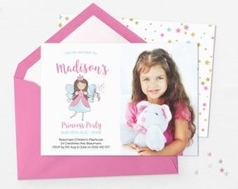 Princess photo invites, photo invitations printable invitation with photo Fairy party invitation 1st birthday invitation Princess invitation