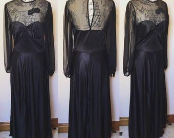 Vintage 1980s Black Nylon Maxi Dress - UK Size 10/US Size 6