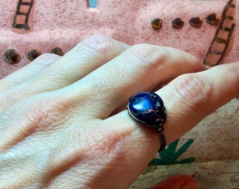 Cobalt blue round stone triple wire wrapped ring sized medium