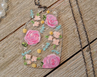 Floral Painted Mason Jar Pendant Necklace, Acrylic, laser cut, painting, acrylic painting, artist, flowers, roses, floral, handpainted