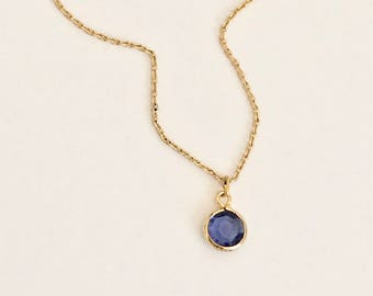FLASH SALE sapphire blue color glass crystal, gem, gold necklace, dark blue, simple, small, dainty, delicate, bridesmaids, bridal, wedding