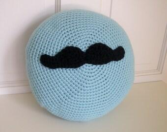 Moustache Pillow / Blue Pillow / Crochet Pillow / Crochet Monster / Kids Pillow / Mustache Pillow / Throw Pillow / Accent Pillow Guys Gift