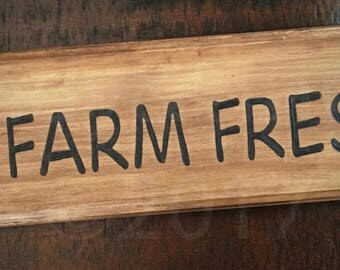 "Andy&Emma ""Farm Fresh""  Wood Burned sign, AndyandEmma,  Hand Burned Sign"