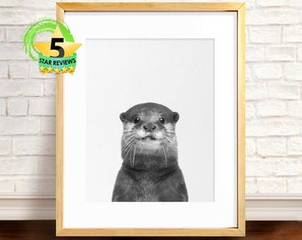 Otter Print, Animal Art, Black and White Animal Print, Animal Photography Art, Otter Wall Decor, Otter Nursery Print, Animal Poster, Otter