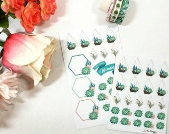 Succulent Cactus Terrarium Planner Stickers