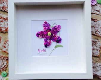 Personalised Button Art Flower Frame