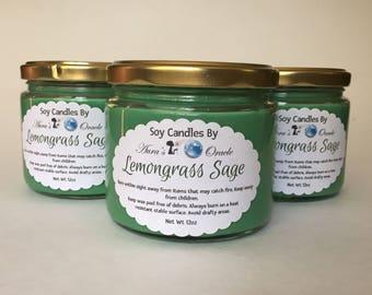 Lemongrass Sage 12oz Soy Wax Candle