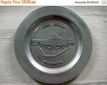 Christmas In July Sale Outer Station Reading Railroad Pewter Commemorative Plate, Kiwanis Club, Reading PA, 1979 Limited Edition