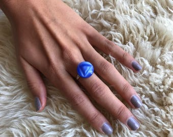 Blue Vintage Button Ring