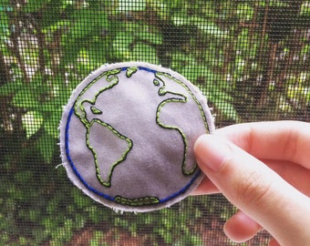 Earth Pin or Patch- Hand Embroidered