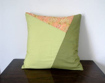 Geometric green and coral floral, cushion cover- Home decor