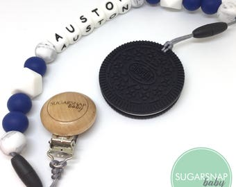 Original Oreo teether - black silicone cookie - BPA Free - blue and white teether -autism toy- toddler toy - newborn - baby shower gift -bab