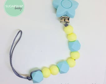 Star pacifier chew clip - silicone chew beads - safe for baby - silicone beads - teething beads - soother clip paci - silicone clip