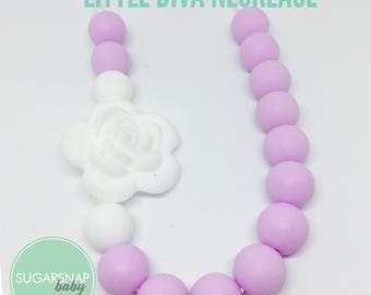 Little Girl - Silicone Necklace - Sweet Lilac and White Flower  - Toddler Necklace - Jewelry for Girls - safe for kid necklace - chew