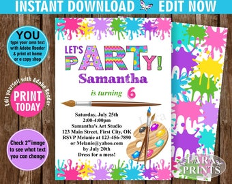 INSTANT DOWNLOAD / edit yourself now / Birthday / Invitation / Art / Party / invite / Pink / Teal / Purple / Girl / DIY / Printable BDPaint4