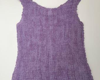 90s vintage Lilac scrunch crinkle vest top S M
