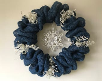 Blue Snowflake Wreath
