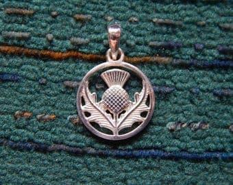 Thistle Charm   Celtic Scottish Thistle Pendant 925 silver