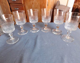 Suite of six cut late XIXth early XXth crystal water glasses