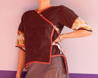 """cross my heart """"Japanese"""" embroidered in Brown cotton"""