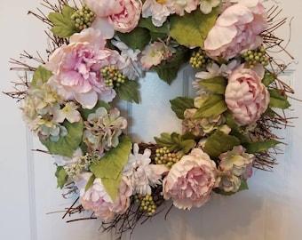 spring wreath summer wreath peony flower door wreathfront door wreath
