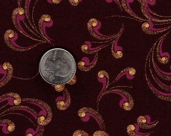 Pink and Gold  Plume Swirls on Dark Red Picotague by Kent Avery Quilt Fabric