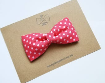 Boy's, Kid's, Toddler, Baby, Light Red and White Polka Dot Bow Tie