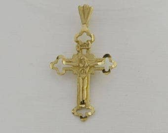 14k Yellow Gold Vintage Diamond Cut Crucifix/cross Religious Pendant(01961)