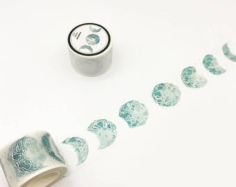 Moon Phases Washi Tape, Space Washi Roll, Silver Foil Washi, Galaxy, Masking Tape, Deco Tape