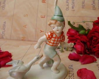 Vintage, Metzler & Ortloff porcelain child figurine,little boy with goose,handpainted,фарфоровая статуэтка