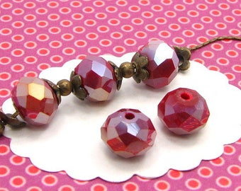 25 10 * 7mm red DO51 donut faceted glass beads