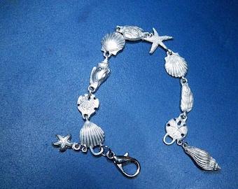 Pewter Beach Bracelet with starfish, shells, sand dollars