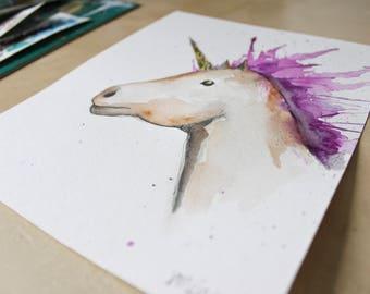 Unicorn. Original watercolor on paper. Brown, purple, purple, black and gold. 8 x 10 inches.