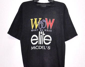 On Sale 25% Vintage  90's  ELITE MODELS TShirt Women What We Wear By Models France Paris Designer Elle Black T shirt Size Medium