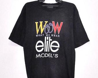 On Sale 25% Vintage  90's  ELITE MODELS TShirt Women What We Wear By Models France Paris Designer Elle Black T shirt Size Medium