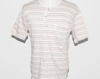 Vintage Pierre Balmain Paris Single Pocket Stripe Striped T-shirt Medium Size Made In Paris