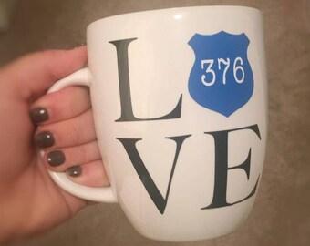 LOVE Police Badge Mug//Back the Blue Mug//Police Gift//Police Badge